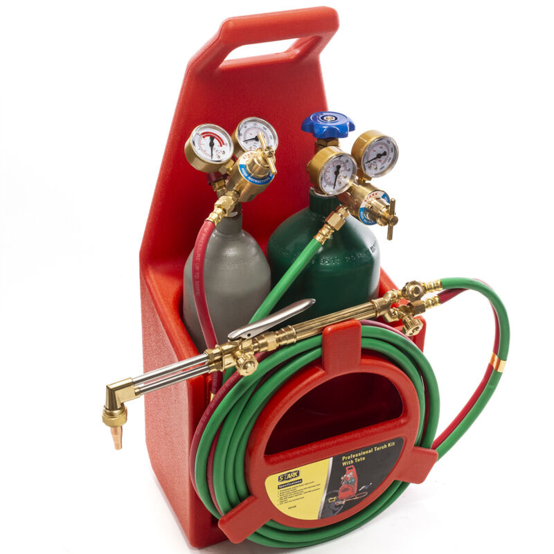 Professional Portable Oxygen Acetylene Oxy Welding Cutting Torch Kit W/Gas Tank.