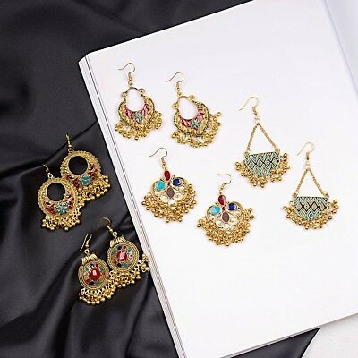 2019 Indian Ethnic Bollywood Women Gold Bohemian Vintage Drop Jhumka Earrings ()