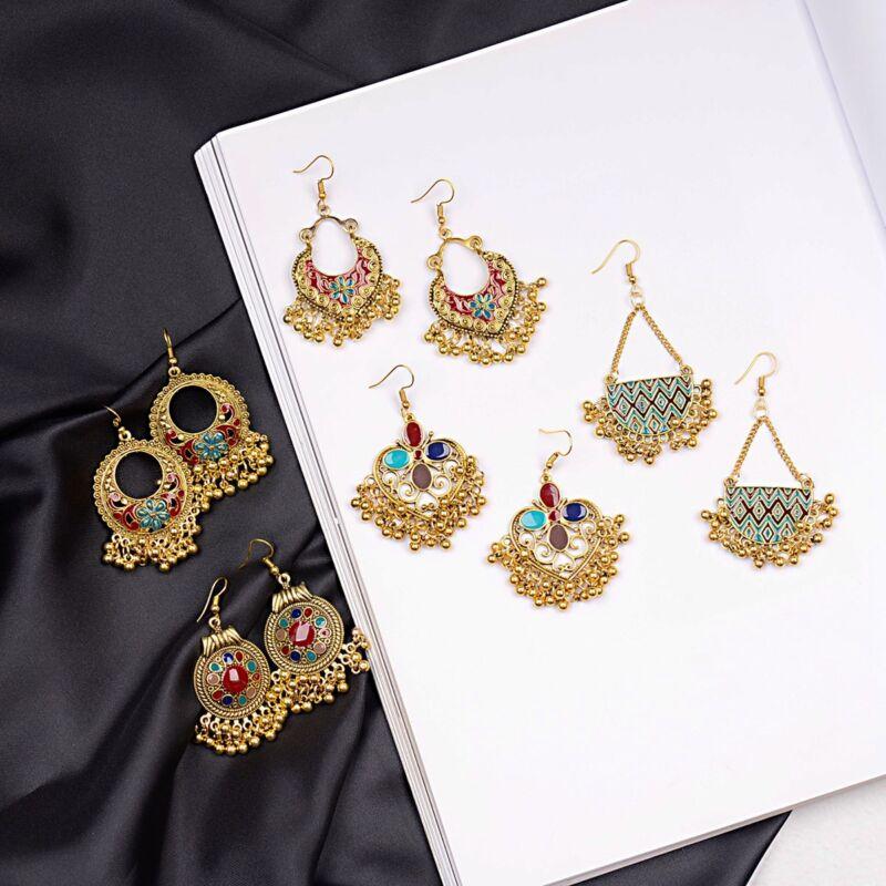 2019 Indian Ethnic Bollywood Women Gold Bohemian Vintage Drop Jhumka Earrings