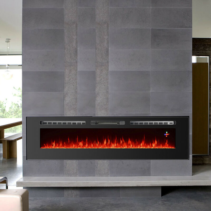 """70"""" Wide Electric Fireplace Wall Mounted /Insert Heater Multi-Color Flame Remote"""