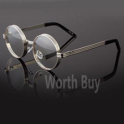 Mens Womens Clear Lens Round Steampunk Retro Fashion Eye Glasses Hipster Frame](Steampunk Fashion Male)