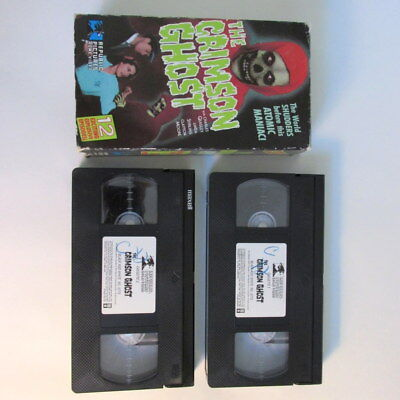 Charles Quigley THE CRIMSON GHOST horror video lot 2 VHS 12 episodes Halloween - Halloween Vhs Box Set