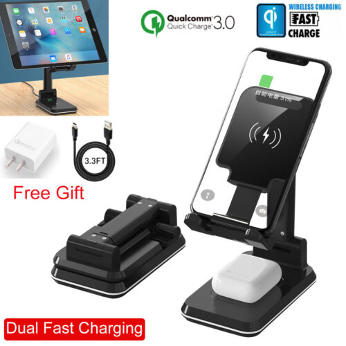iPad Tablet Phone Airpods QI Wireless Charger Holder Chargin