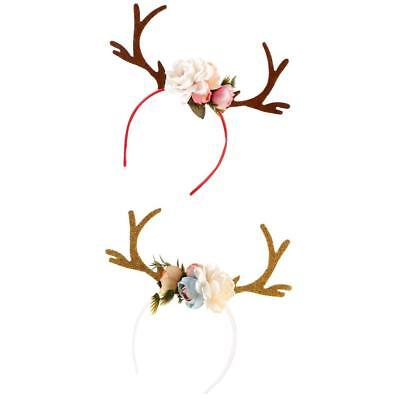 2er Set Damen Mädchen Weihnachten Blumen Geweihe Kostüm Haarreif - Weißes Geweih Kostüm