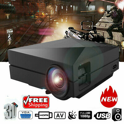 7000 Lumen Full HD 1080P LED 3D LCD VGA HDMI TV Home Theater Projector Cinema DK