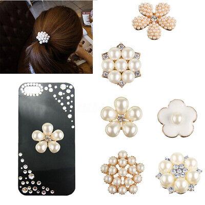 24mm Rhinestone Crystal Pearl  Buttons DIY Embellishments Phone Decor (Pearl Embellishments)