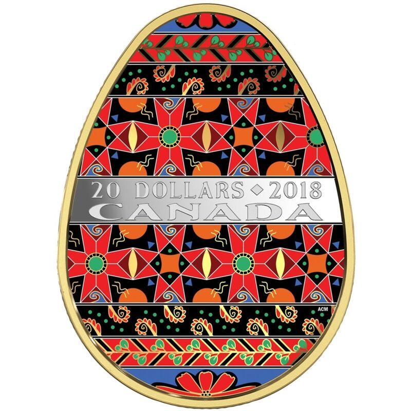 Golden Spring Ukrainian Pysanka Proof Silver Coin $20 Canada 2018