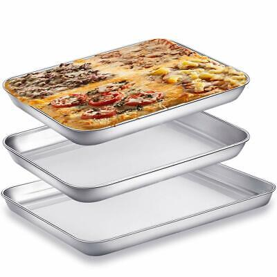 3 Piece/Set, 10 & 9 inch Baking Sheet Pans for Toaster Oven, Small Stainless  3 Piece Baking Sheet