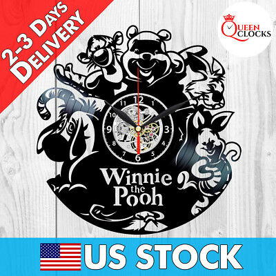 Disney Winnie the Pooh Vinyl Record Wall Clock Birthday Gift Nursery Decor Idea](Birthday Wall Ideas)