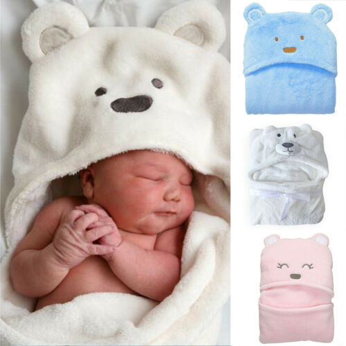 Newborn Infant Baby Soft Flannel Hooded Blanket Bath Towel K