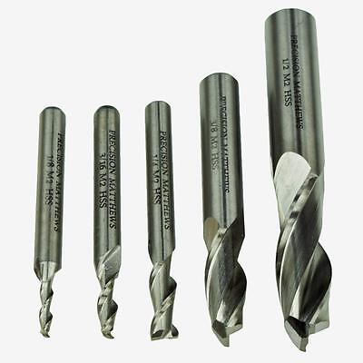 End Mill Set For Milling Machines 5 Piece 2 Flute Quality Hss Free Shipping