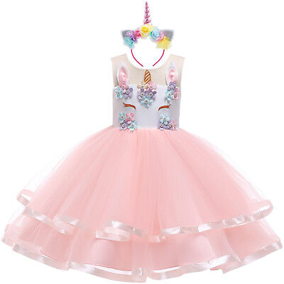 Flower Girls Unicorn Dress Princess Birthday Tutu Costume Hair Hoop for Cosplay - Costume Flower