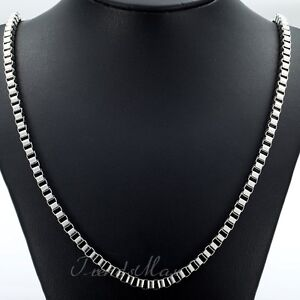4MM-MENS-Boys-Chain-Box-Link-Silver-Tone-Stainless-Steel-Necklace-18-36inch-DIY
