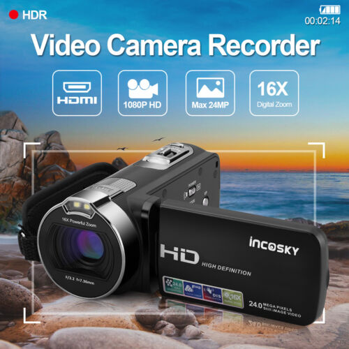 1080P FULL HD Camcorder Digital Videokamera LCD 24MP 16x Zoom DV DE Verkäufer
