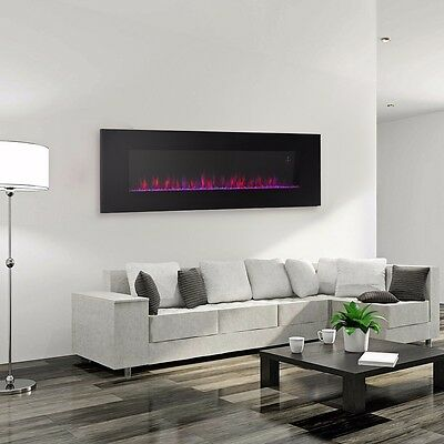 """Contemporary Electric Fireplace Black 50"""" Wall Mount Heater Multicolor flame new"""
