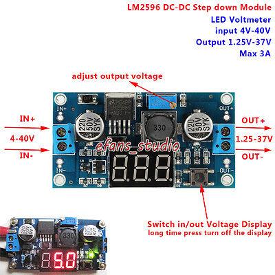 Led Display Dc-dc Buck Step Down Adjustable Converter 4v-40v To 5v 9v 12v 24v 3a