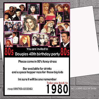 12 x 80s Birthday Party Invitations Popstars Adult Eighties | H1350 (80s Birthday Invitations)