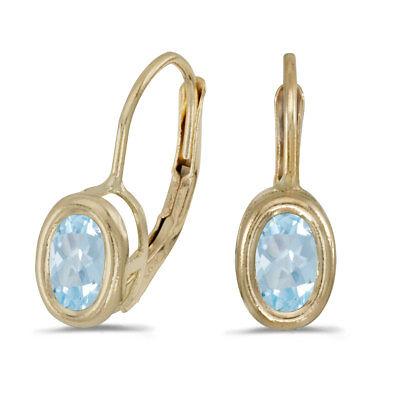 14k Yellow Gold Oval Aquamarine Bezel Lever-back Earrings