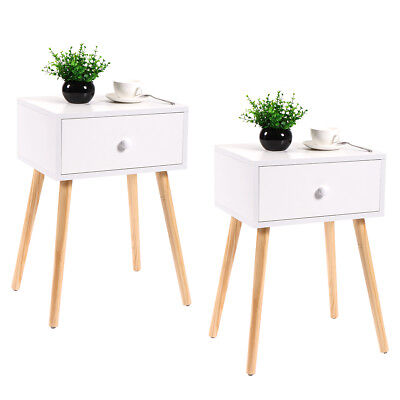 Pair of Mid Century Modern Accent Coffee Tea Table White With Drawer Storage
