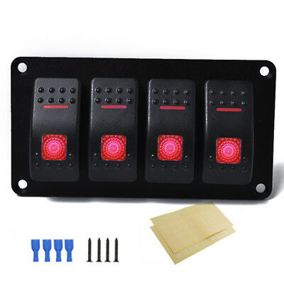 Car Rv 4 Gang Rocker Toggle Switch Panel With Red Led Waterproof For 1224v