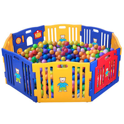 Baby Playpen Safety Play Center Yard Kids 8 Panel  Home Indoor Outdoor Fence