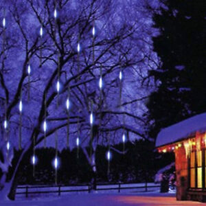 8 Tubes Waterproof 30cm 144 LED Meteor Shower Rain Lights String for Xmas USA