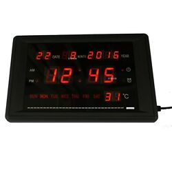 LED Calendar Clock With Time Date Week And Temperature Large Digital Alarm Clock