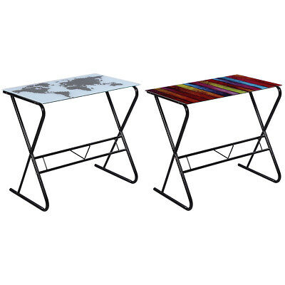 Computer Desk Glass Table Home Office Study Furniture World Maprainbow Pattern