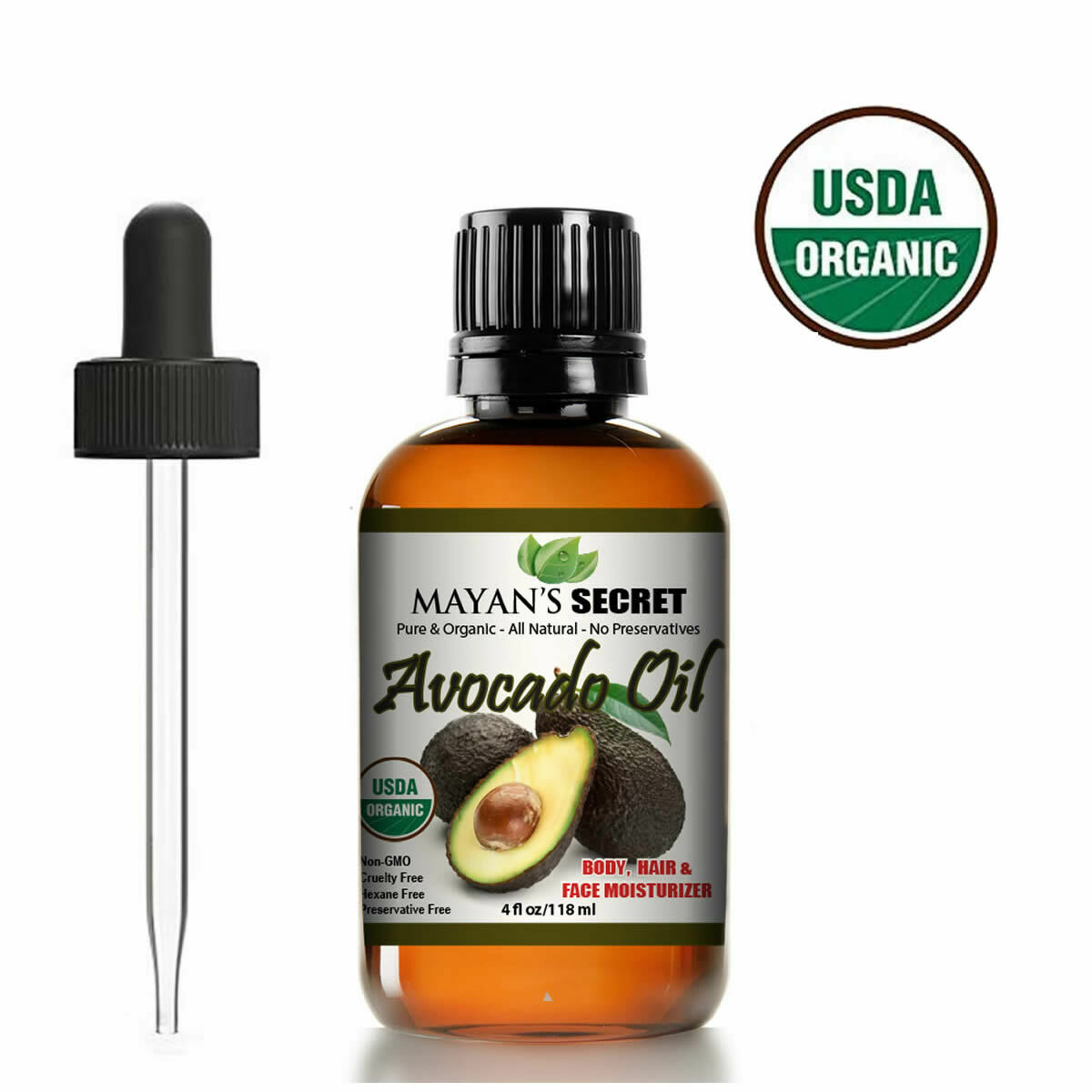 AVOCADO OIL UNREFINED 100% PURE VIRGIN CERTIFED USDA ORGANIC COLD PRESSED  4 OZ Health & Beauty