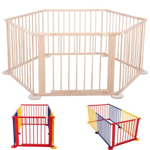 6 Panel Foldable Baby Playpen Wooden Frame Indoor&Outdoor Kid Play Center Yard