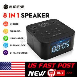 8 In 1Portable bluetooth Speaker Digital Alarm Clock Snooze USB FM Radio US
