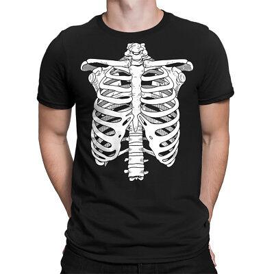 Ribcage Skeleton Halloween October Month Costume Funny Adult  Men's T-Shirt](Skeleton T Shirt Costume)