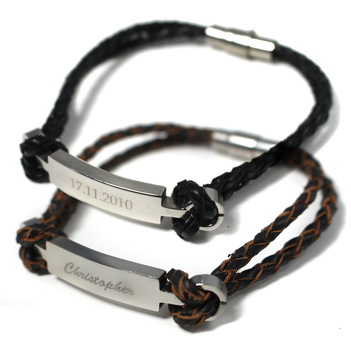 MENS/LADIES LEATHER STEEL BRACELET WITH ENGRAVED CHARM ...