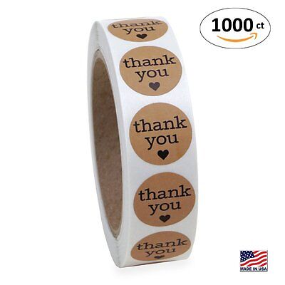 Round Shape Print Kraft Paper Thank You Adhesive Label 1 1000 Stickers Roll New