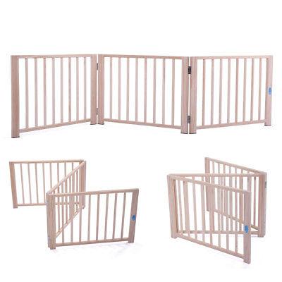 "17.5"" Dog Gate Indoor Fence Barrier Standing Wood Folding Safety 3 Panel Pet"