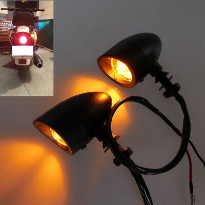 Motorcycle Turn Signal Light Amber LED Indicator For Cafe Racer Chopper Bobber