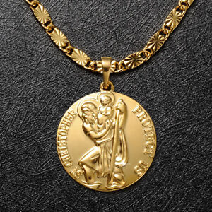 Mens 24K Solid Gold Filled St Christopher Pendant Necklace Chain Jewellery 24