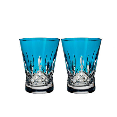 Waterford Lismore Pops Aqua Double Old Fashioned DOF Pair #40019541 Brand New Waterford Lismore Double Old Fashioned