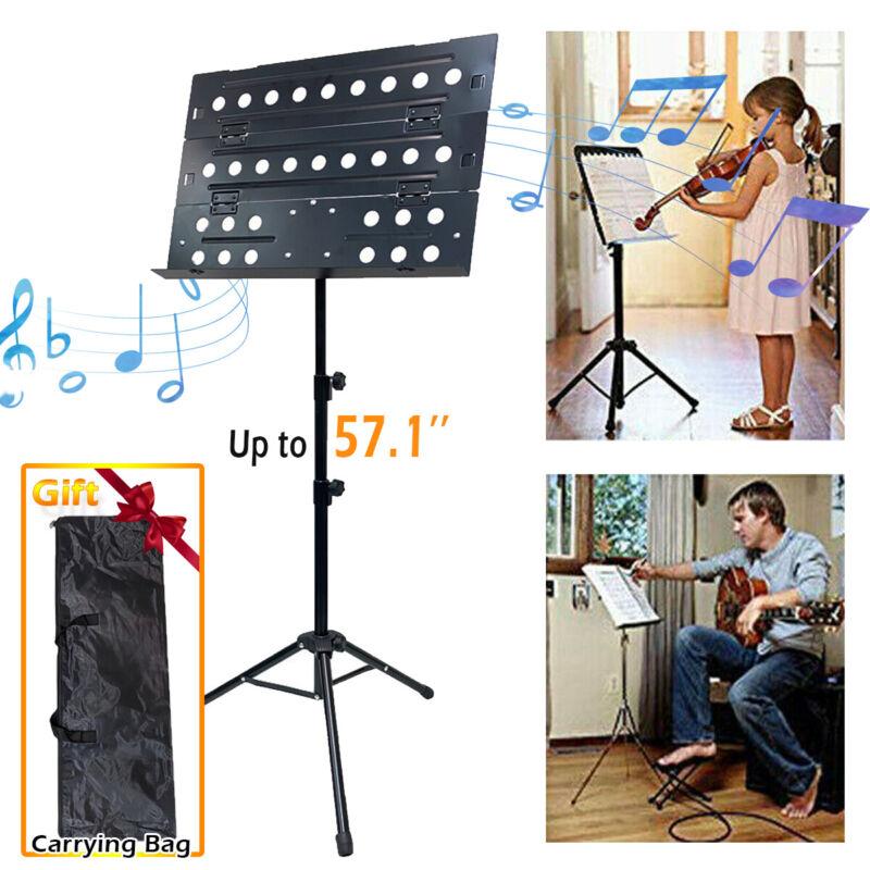 Music Conductor Stand Adjustable Metal Sheet Tripod Holder Folding Stage + Bag