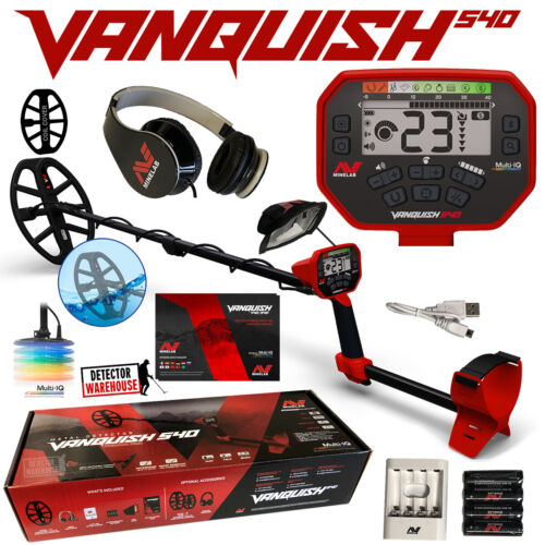 """Minelab Vanquish 540 with Headphones, 12"""" Coil with Cover and Recharg. Batteries"""