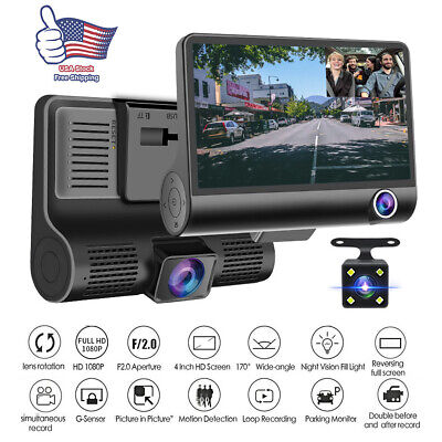 "1080P 4""Car DVR Dual Lens Dash Cam Front + Gsensor Rear Video Recorder Camera US"