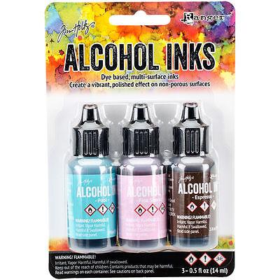 Tim Holtz Alcohol Ink .5oz 3/Pkg Retro Cafe-Pool/Pink Sherbert/Espresso NEW #12