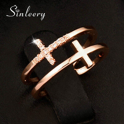Adjustable Size Crystal Double Cross Midi Rings For Women 18K Rose Gold (Double Rose Rings)