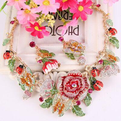 Rose Butterfly Ladybug Flower Pink Austrian Crystal Necklace Earrings Set Women Austrian Crystal Butterfly Necklace