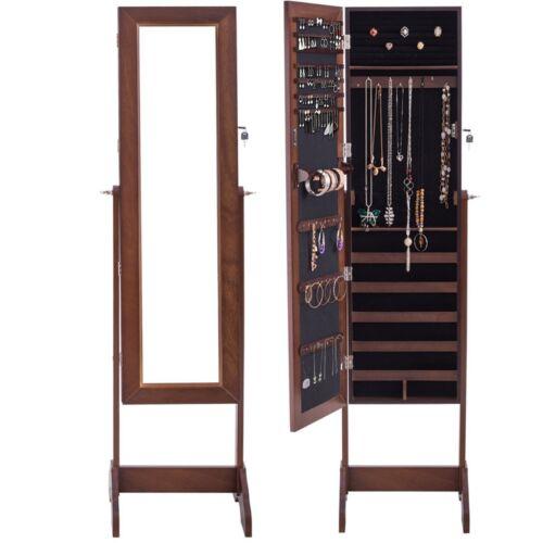 Home Freestanding Armoire Storage Jewelry Cabinet Walnut Col