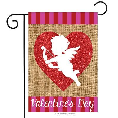 "Cupid Burlap Valentine's Day Garden Flag Love Holiday 12.5"" x 18"" Briarwood Lane"