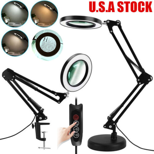 LED 8X Magnifying Glass Desk Table Light Magnifier Lamp Reading Lamp With Base