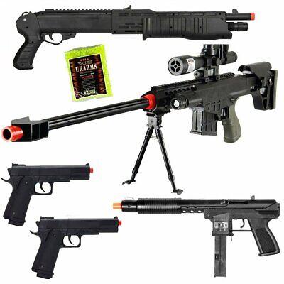 New Set of 5 Airsoft Guns Sniper Rifle Shotgun Spring Pistols + 1,000 6mm BBs