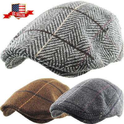 Men's Newsboy Ivy Hat Classic Wool Blend Herringbone Plaid Ascot Golf Cap Mens Wool Caps