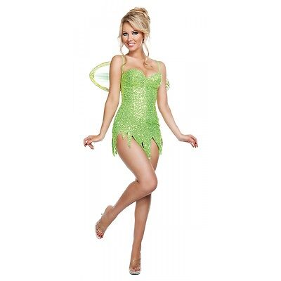 Sexy Tinkerbell Costume Adult Fairy Trashy Lingerie Design Halloween Fancy Dress